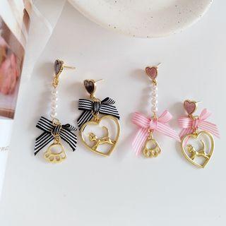 Cat & Heart Drop Earring / Clip-on Earring