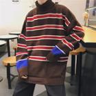 Turtleneck Striped Knit Sweater