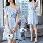 Short-sleeve Striped Cutout A-line Dress