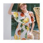 Cutout-shoulder Pineapple Print Minidress