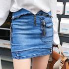Fold Over Washed Denim Skirt