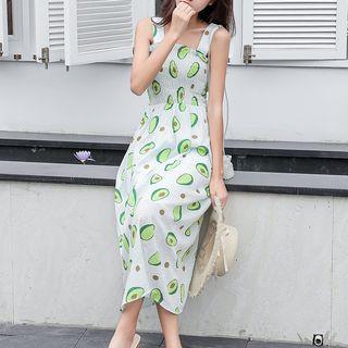 Wide Strap Avocado Print Smocked A-line Dress