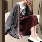 Letter Applique Striped Long Cardigan