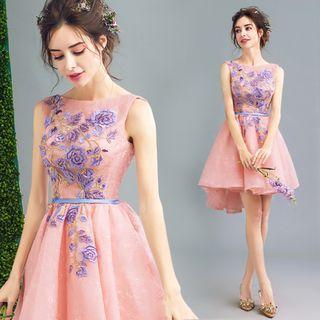 Lace Applique Dip-back Mini Prom Dress