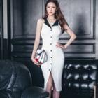 Contrast Collar Sleeveless Buttoned Sheath Dress