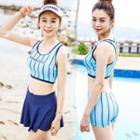 Set: Striped Tankini + Plain Swim Skirt