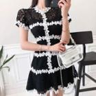 Short-sleeve Contrast Trim Mini Lace Dress