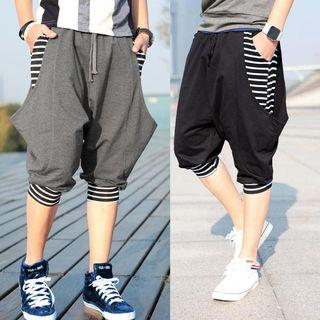 Drawstring Stripe Detail Baggy Cropped Pants