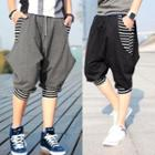 Drawstring Stripe Detail Baggy Cropped Pants