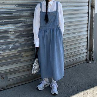 Long-sleeve T-shirt / A-line Midi Denim Dungaree Dress