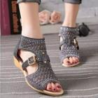 Buckled Perforated Sandals