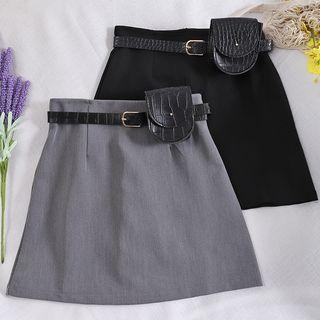 Plain A-line Skirt + Belt