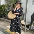 Lantern-sleeve Dotted Midi A-line Dress
