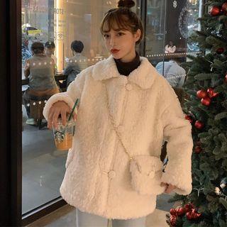 Set: Faux Shearling Buttoned Jacket + Crossbody Bag
