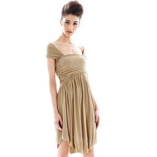 Off-shoulder Pleated Dress