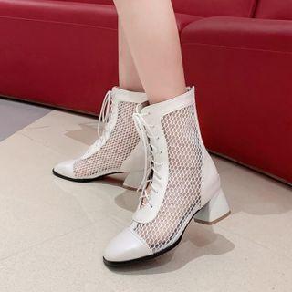 Block Heel Mesh Panel Ankle Boots