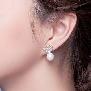 Pearl Rhinestone Butterfly Earrings