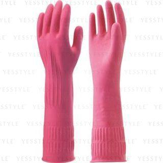 Natural Rubber Long Gloves 1 Pair - Pink - M