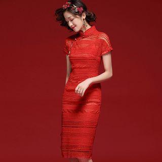 Short-sleeve Crochet Lace Qipao