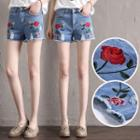 Distressed Rose Embroidery Denim Shorts