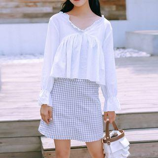 Ruffle Trim Bell Sleeve Top White - One Size