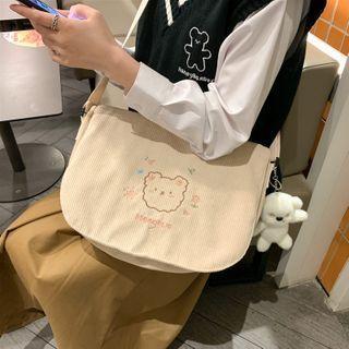 Bear Embroidered Corduroy Messenger Bag