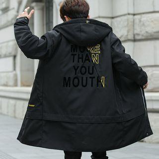 Lettering Print Hooded Zip Coat