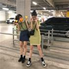 Short-sleeve Color Block Knit Polo Shirt / Dress
