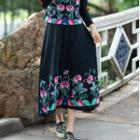 Flower Embroidered Maxi A-line Skirt
