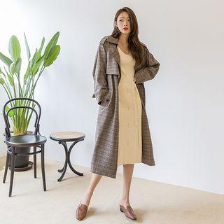 Belted Plaid Long Trench Coat Brown - One Size