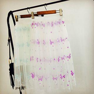 Flower Embroidered Mesh Midi Skirt