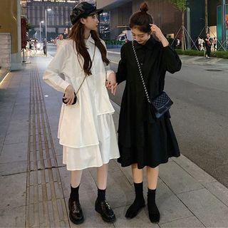 Long-sleeve Midi Layered Shirtdress