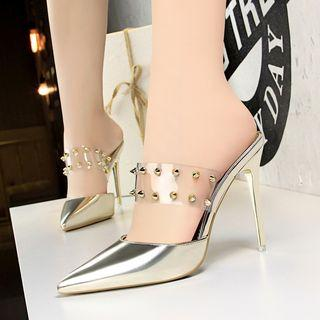 Studded Pointed High Heel Mules