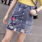 Flower Embroidered Ripped Denim Skirt