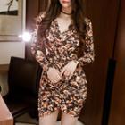 Floral Print Shirred Bodycon Dress
