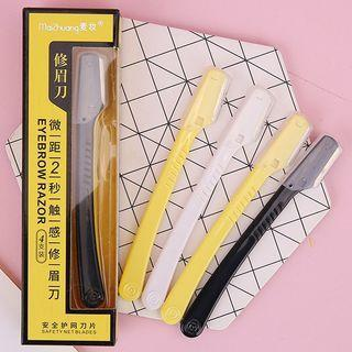 Set Of 4: Stainless Steel Eyebrow Razor 4 Pcs - Yellow & White & Black - One Size