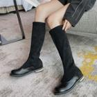 Block-heel Paneled Tall Boots