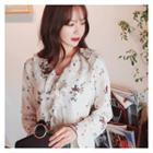 Tie-neck Floral Print Ruffled Top