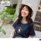 Embroidered Short-sleeve Contrast Trim T-shirt