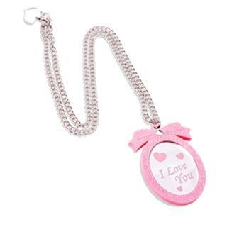 Pink Glitter Sweet Heart Pendant Necklace