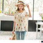 Smocked-cuff Floral Print Top