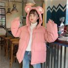 Ear Cotton Cropped Hooded Jacket