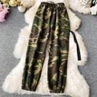Drawstring Camouflage Harem Pants