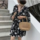 Elbow-sleeve Tie-neck Floral Print Chiffon Flare Dress