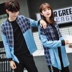 Couple Matching Plaid Panel Long-sleeve Shirt
