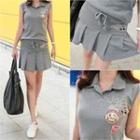Set: Sleeveless Appliqu  Polo Shirt + Pleated Mini Skirt