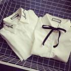 Embroidered Shirt / Tie Neck Shirt