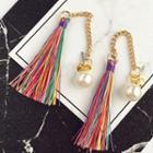 Colored Tassel Swing Earrings