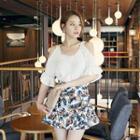 Ruffle-hem Floral Print Mini Skirt