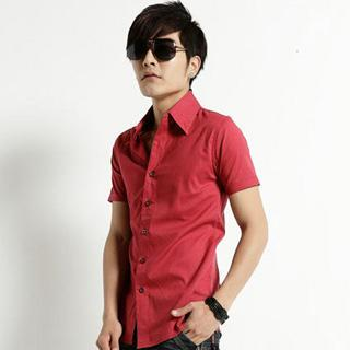 Short-sleeve Plain Shirt